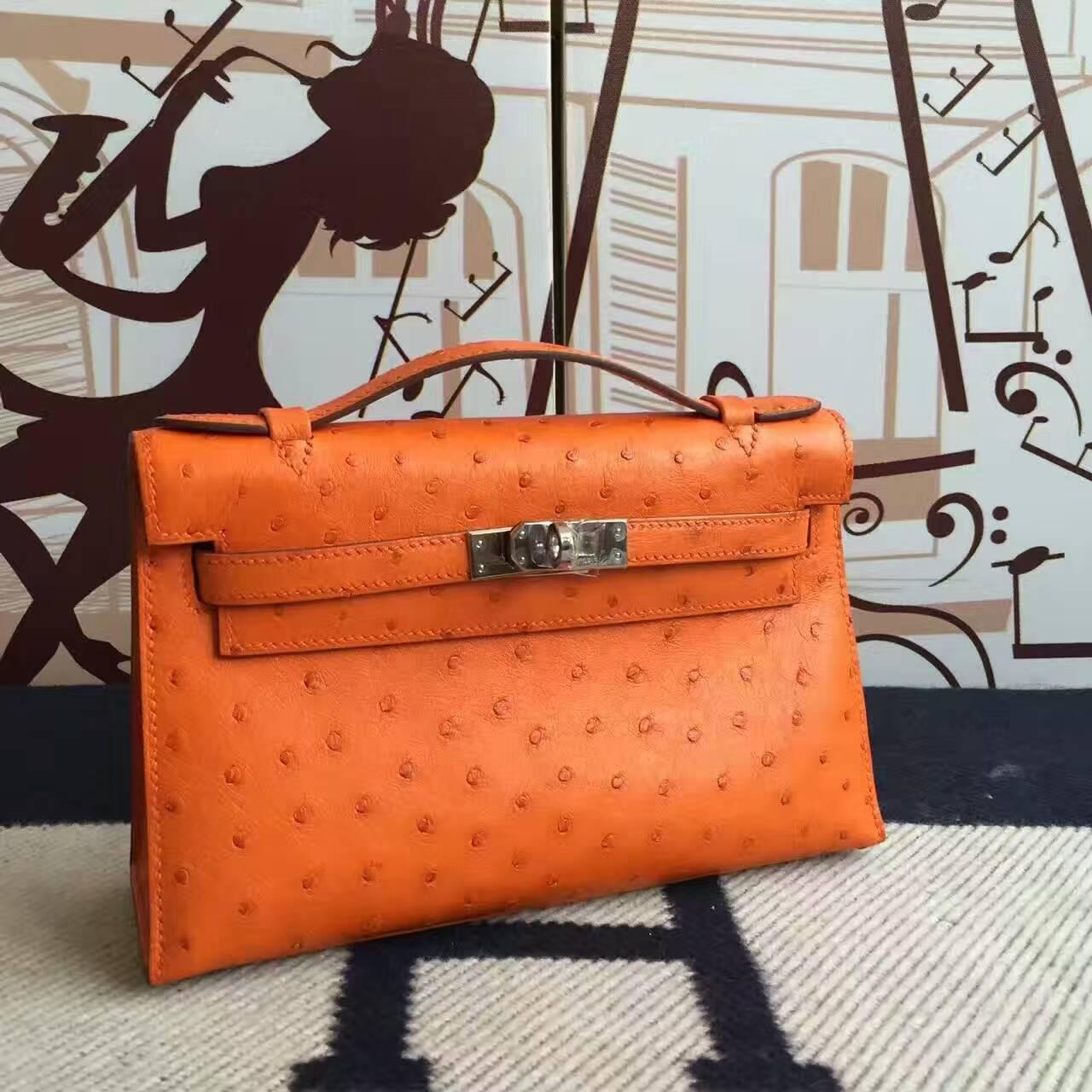 Sale Hermes 93 Orange Ostrich Leather Minikelly pochette Clutch Bag 22CM