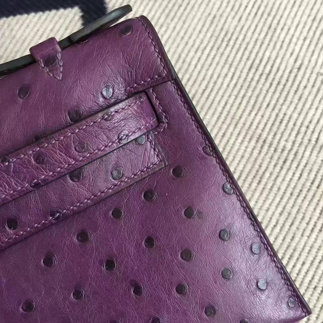 Discount Hermes Ostrich Leather Minikelly Pochette 22CM in 9W Violet