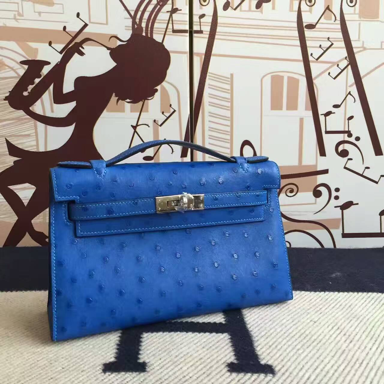 Wholesale Hermes 7T Blue Electric Ostrich Leather Minikelly Clutch Bag 22CM