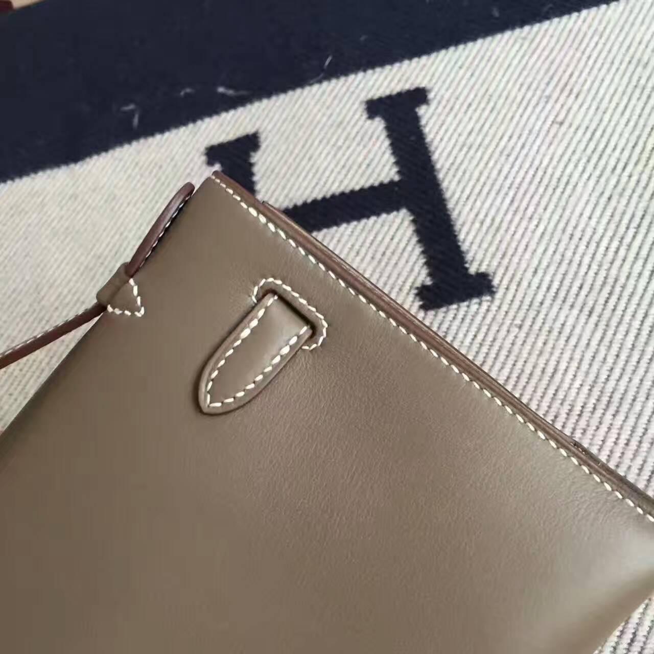 High Quality Hermes CK18 Etoupe Grey Swift Leather Minikelly Pochette 22CM