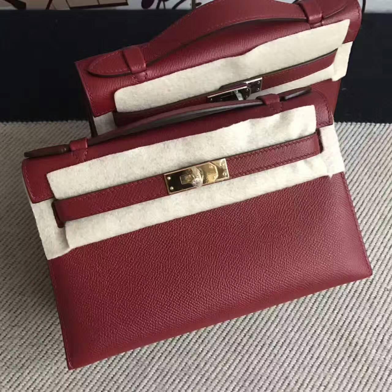 Cheap Hermes K1 Rouge Grenade Epsom Calfskin Leather Minikelly Clutch Bag 22cm