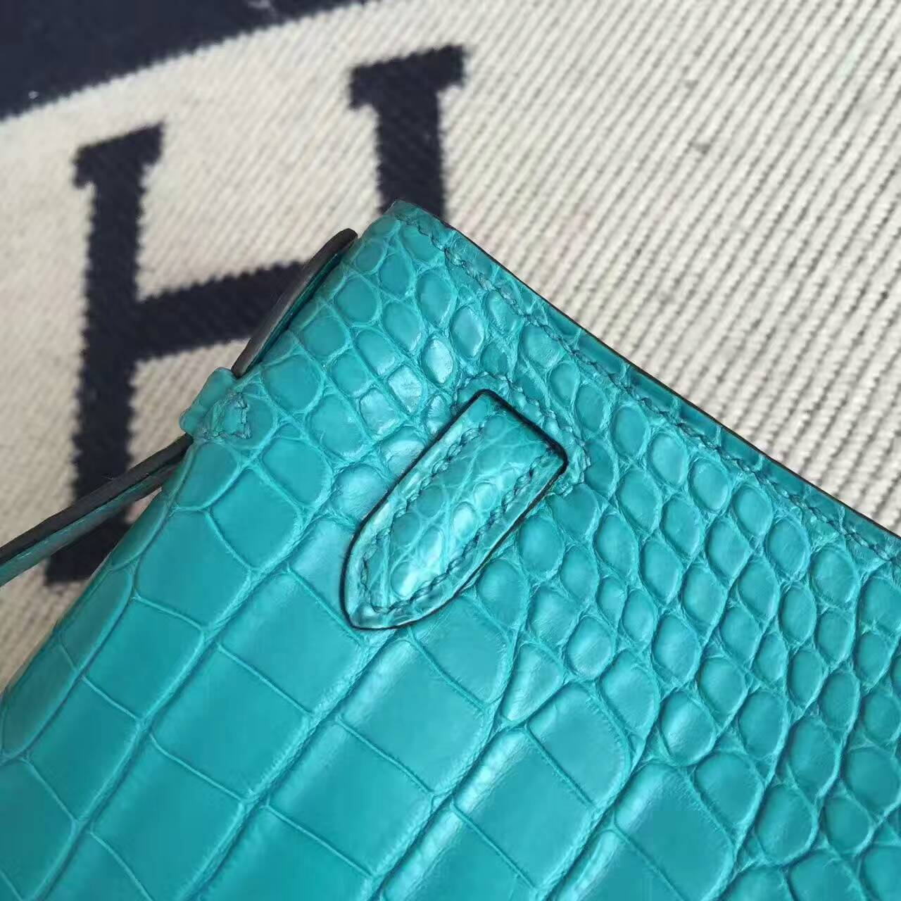 Sale Hermes Z6 Malachite Green Alligator Matt Leather Minikelly 22cm