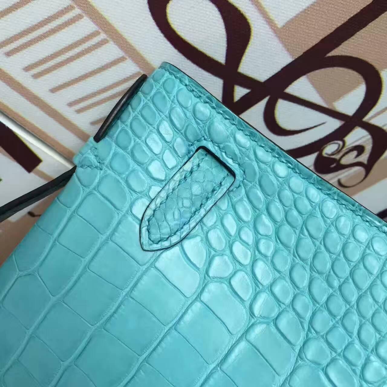 Wholesale Hermes 3Z Blue Saint-cyr Alligator Matt Leather Minikelly Pochette 22CM