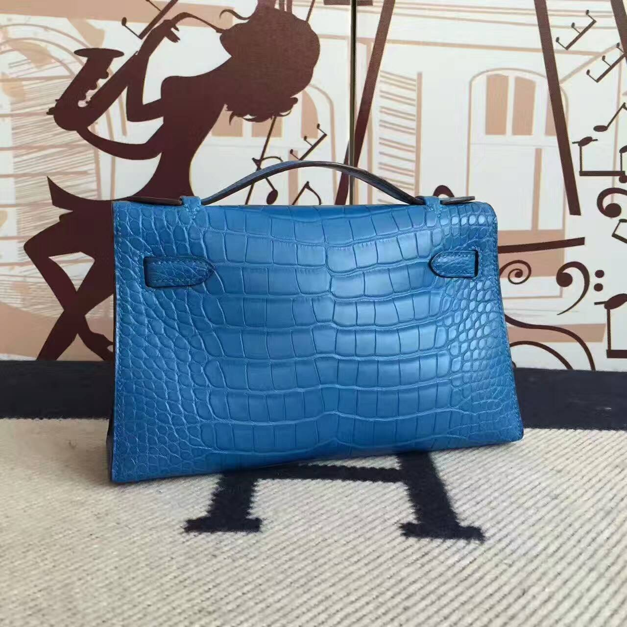 Wholesale Hermes 7Q Mykonos Blue Alligator Matt Minikelly Clutch Bag 22cm