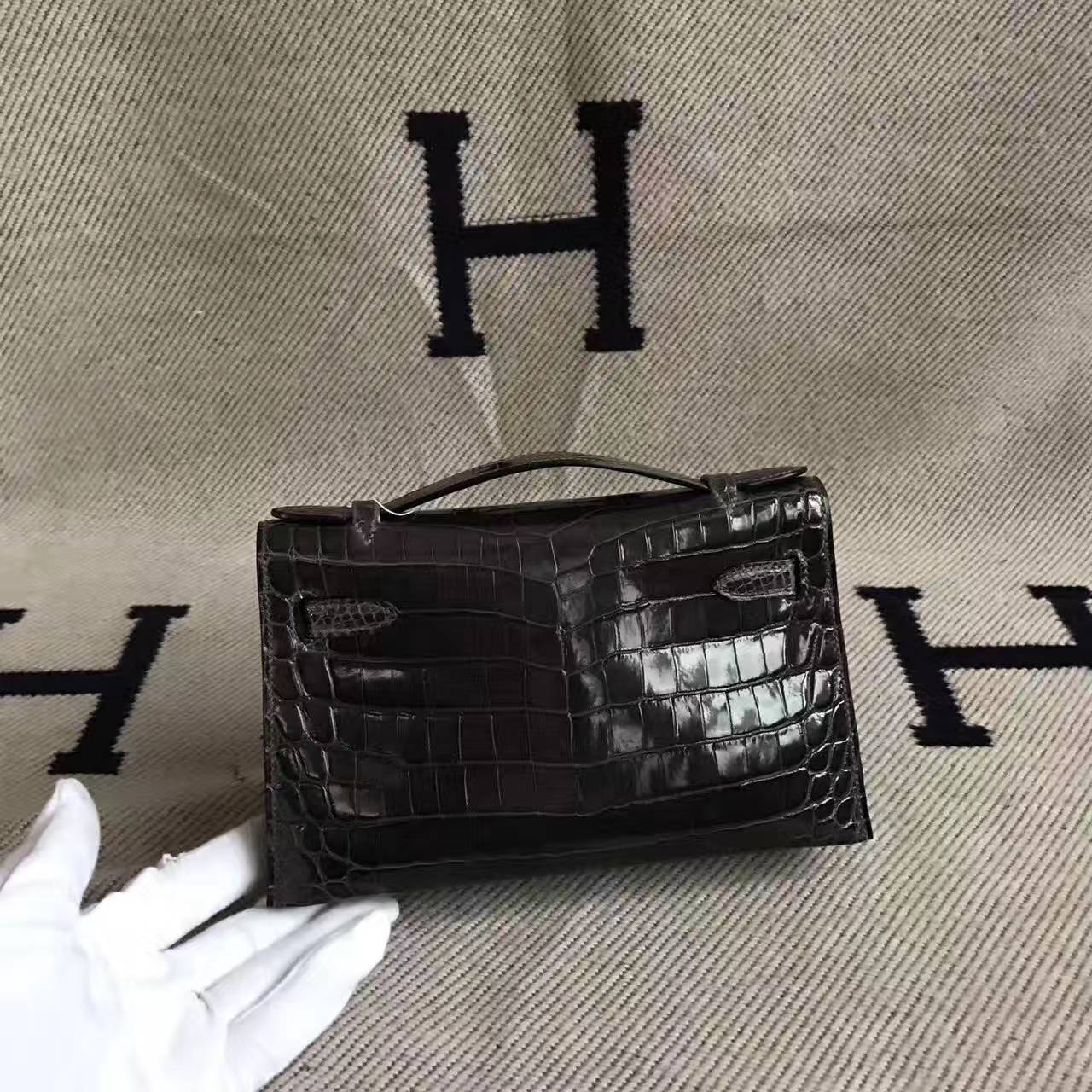 Wholesale Hermes 88 Graphite Grey Crocodile Shiny Leather Minikelly Bag 22cm
