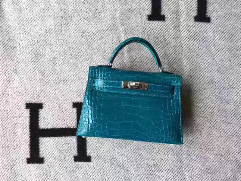 Hermes 7W Blue Izmir Crocodile Shiny Leather Minikelly-2 Clutch Bag