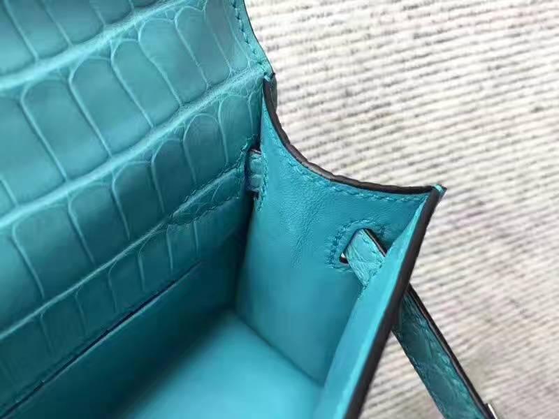 Hand Stitching Hermes 3Z Sanit-cyr Crocodile Matt Leather Minikelly-2 Bag