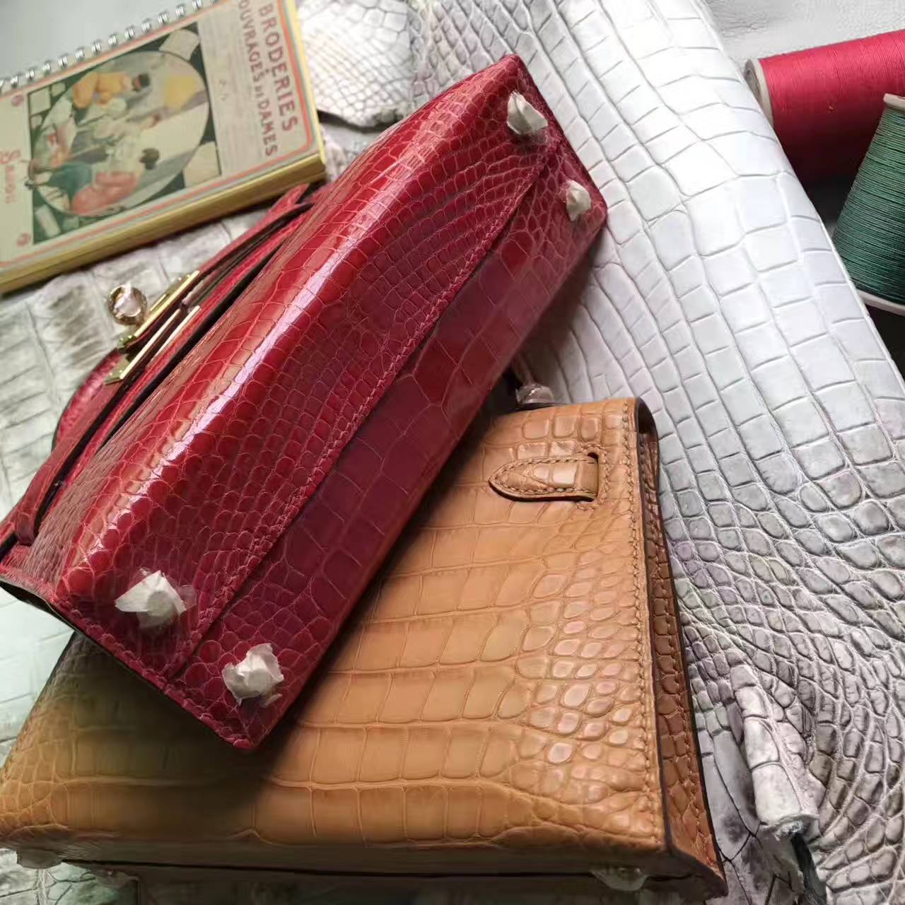 New Hermes A5 Bougainvillier Crocodile Shiny Leather Minikelly-2 Bag