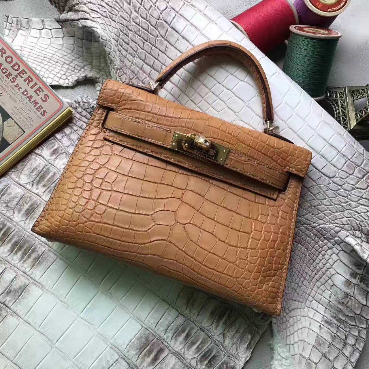 Wholesale Hermes Cognac Crocodile Shiny Leather Minikelly-2 Handbag