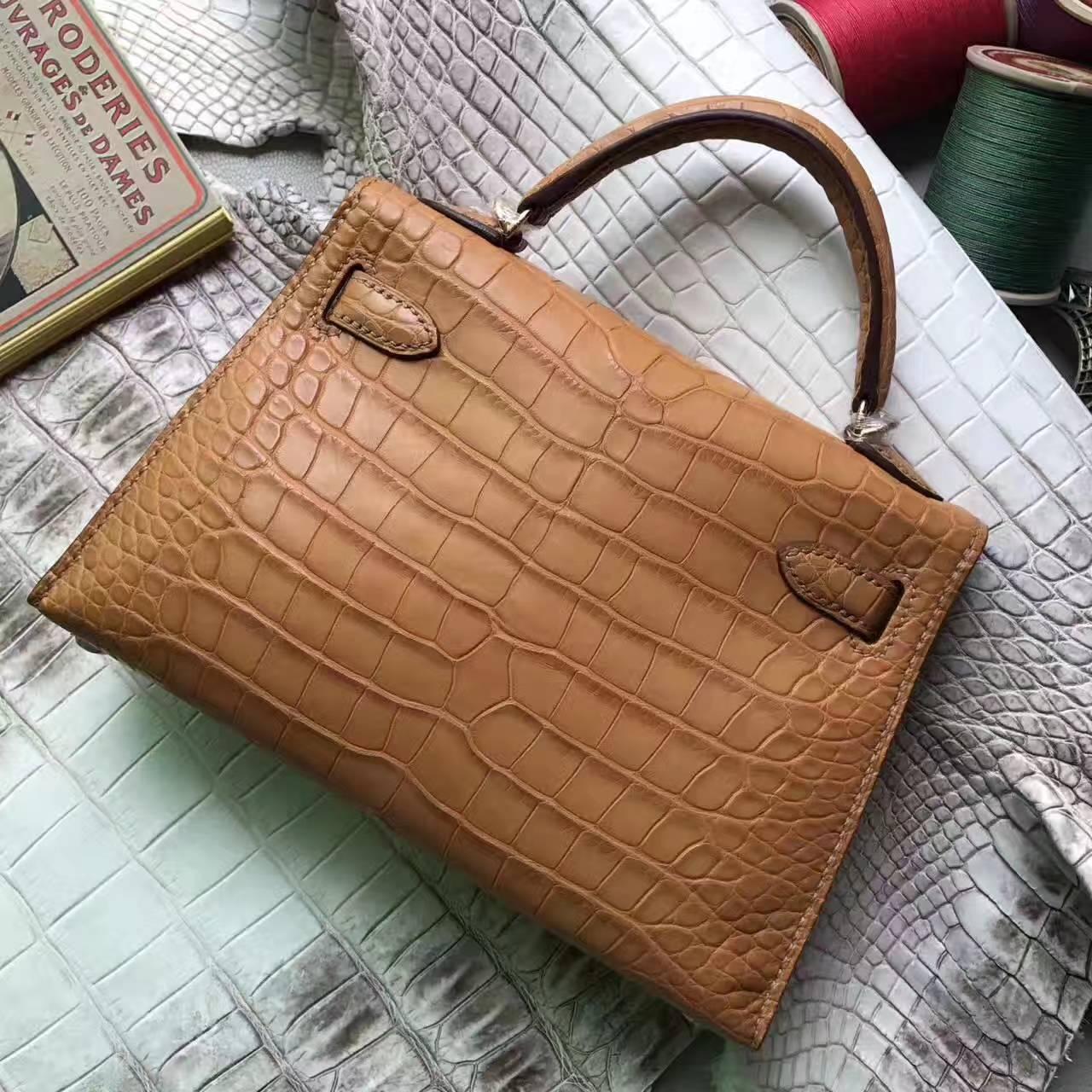 Wholesale Hermes Cognac Crocodile Shiny Leather Minikelly-2 Handbag