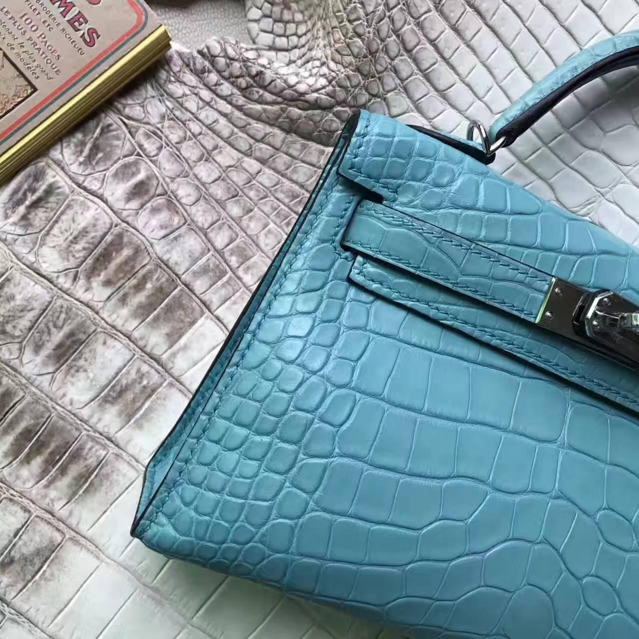 Hot Sale Hermes 3Z Blue Saint-cyr Crocodile Leather Minikelly-2 Clutch Bag
