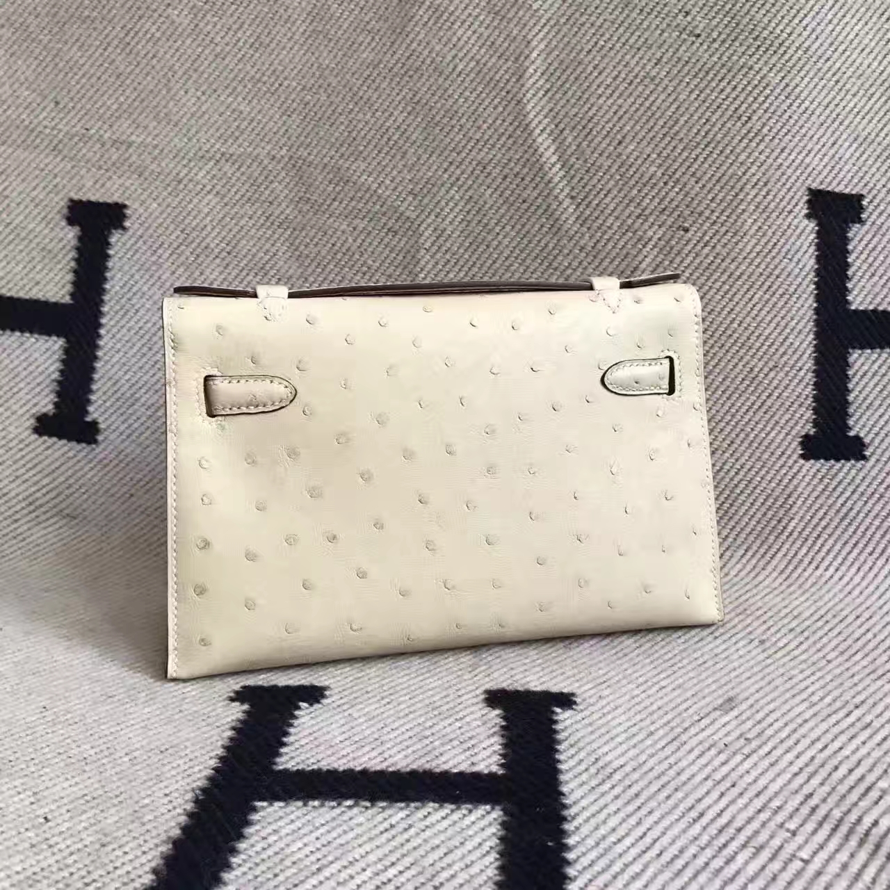 Wholesale Hermes Wool White Ostrich Leather Minikelly Clutch Bag 22cm