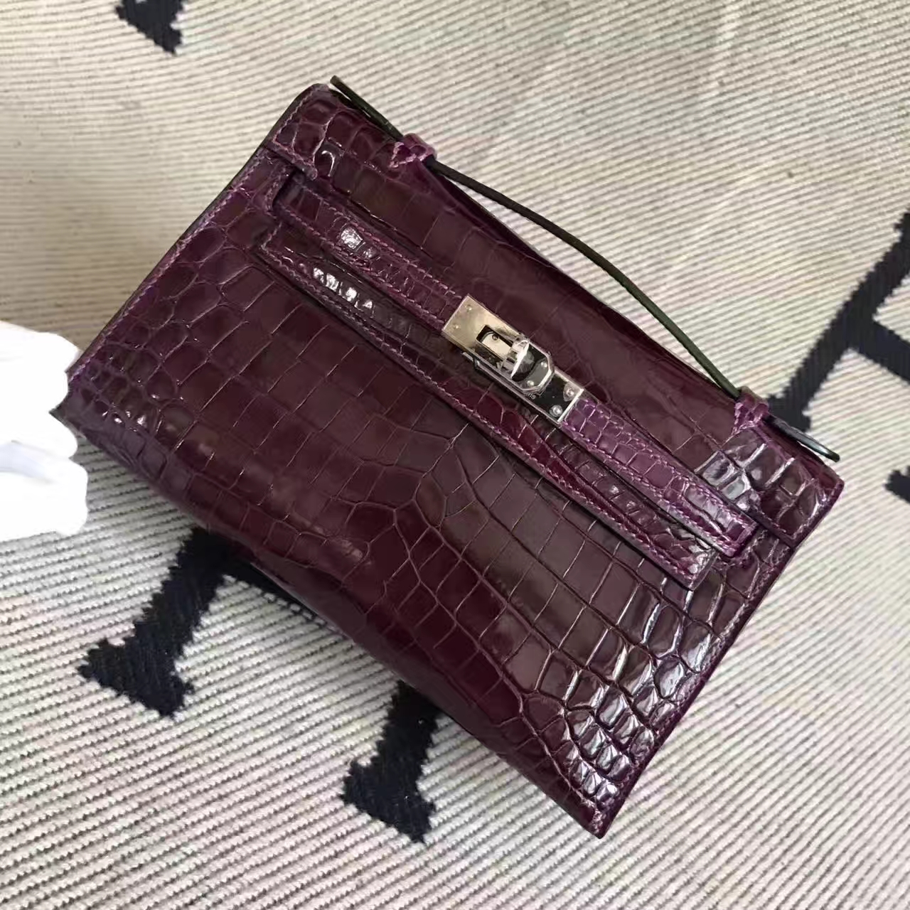 Discount Hermes Minikelly Clutch Bag in Fuchsia Crocodile Shiny Leathe