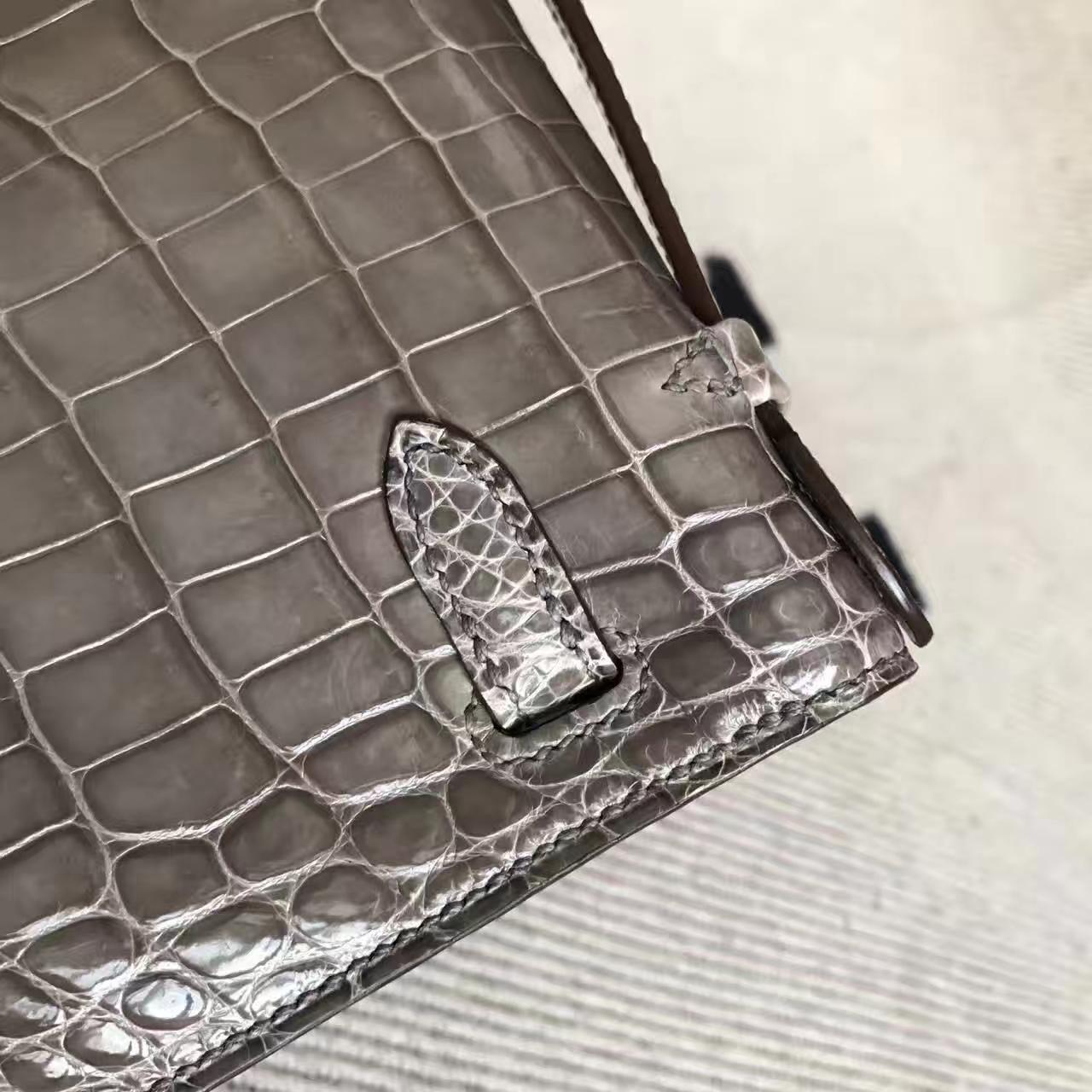 New Arrival Hermes C18 Etoupe Grey Crocodile Shiny Leather Minikelly Bag 22cm