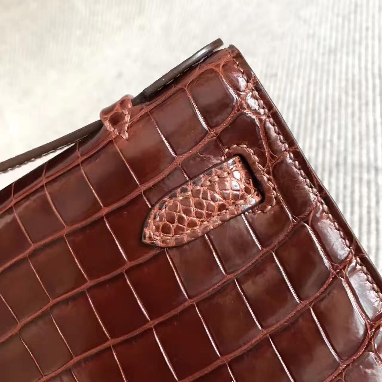 Luxury Hermes CK31 Brown Crocodile Shiny Leather Minikelly Clutch Bag 22CM