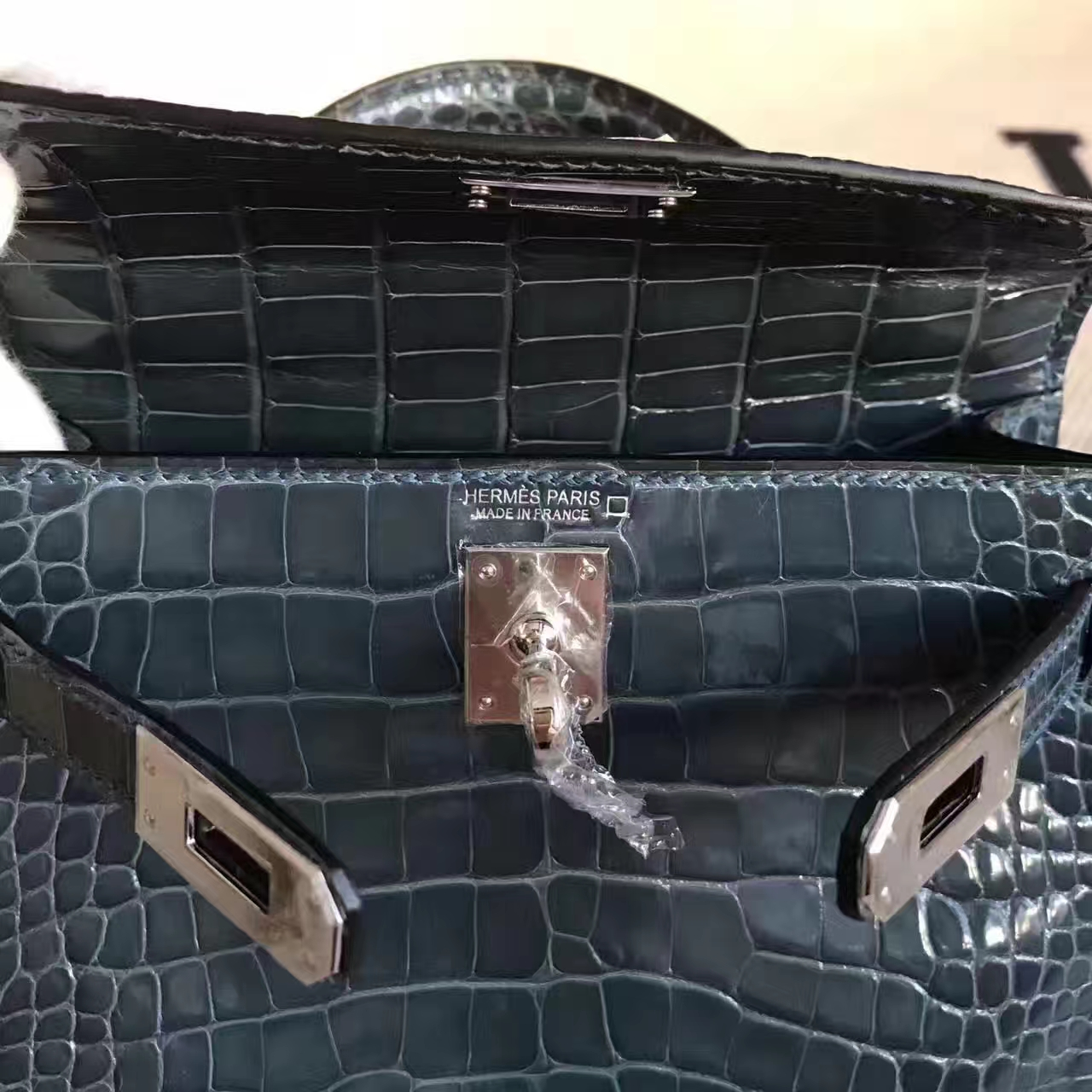 Sale Hermes 1P Duck Blue Shiny Alligator Crocodile Minikelly-2 Clutch Bag 19cm