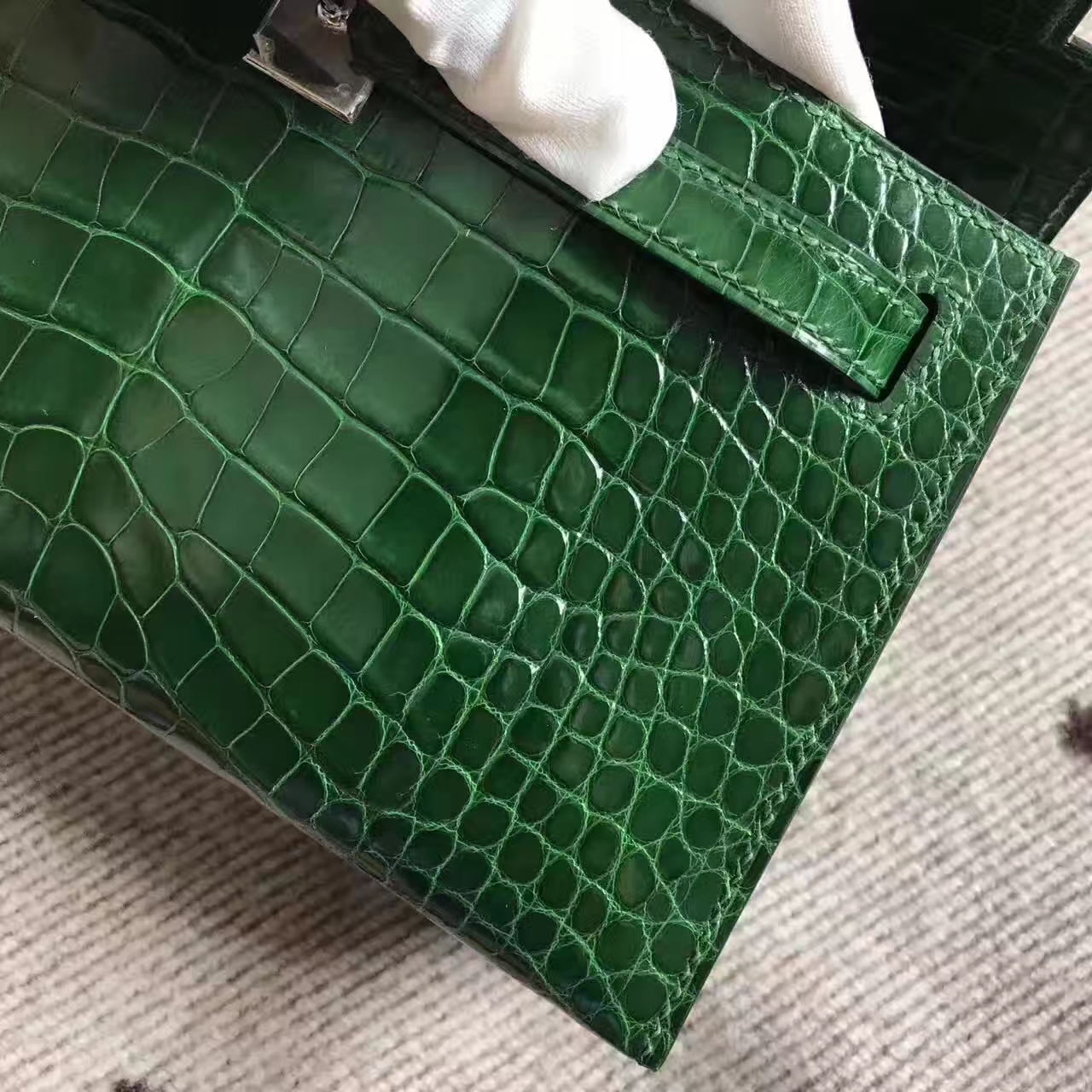 New Arrival Hermes 1L Cacti Green Crocodile Shiny Leather Minikelly Bag 22cm