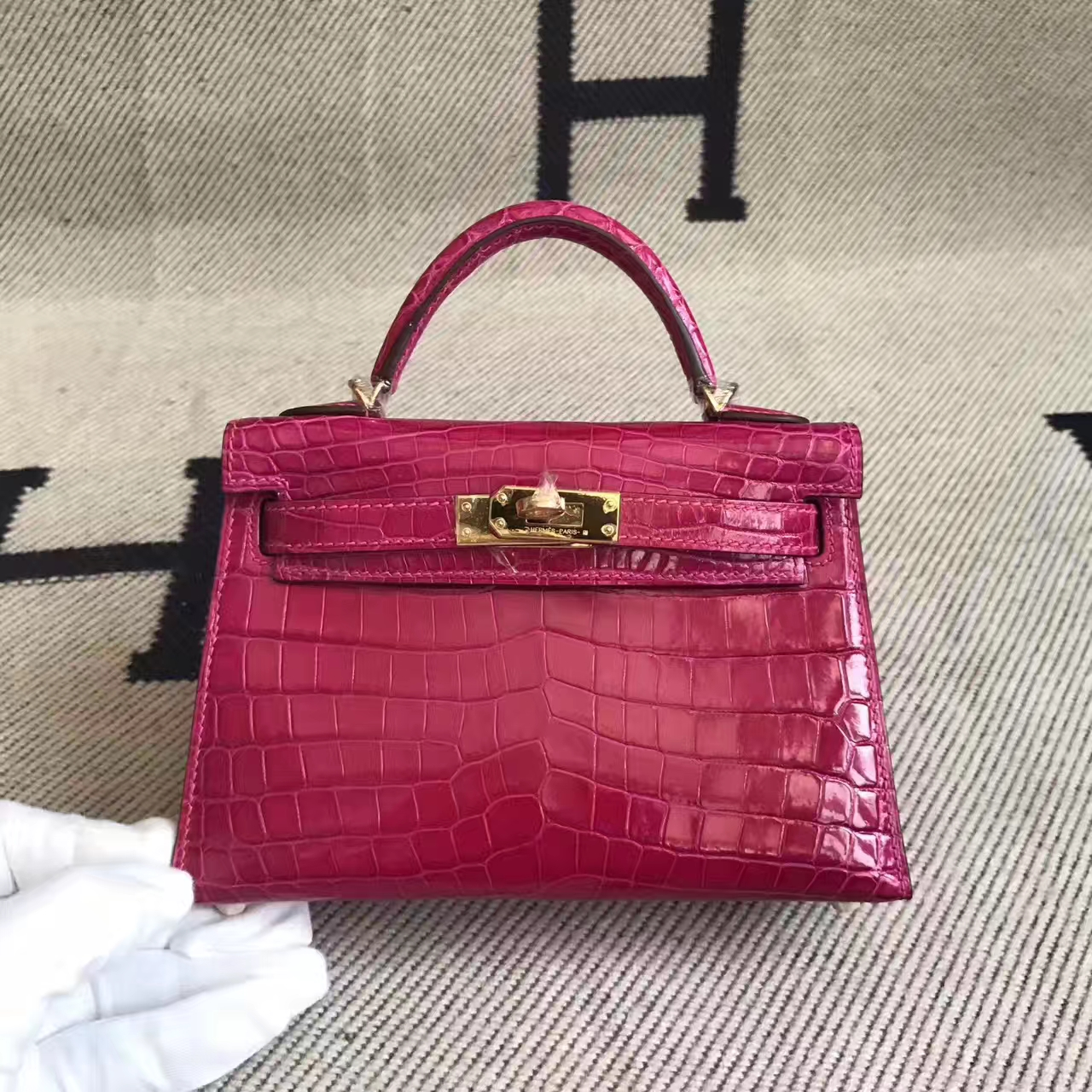 Sale Hermes J5 Rose Scheherazade Crocodile Shiny Leather Minikelly-2 Bag