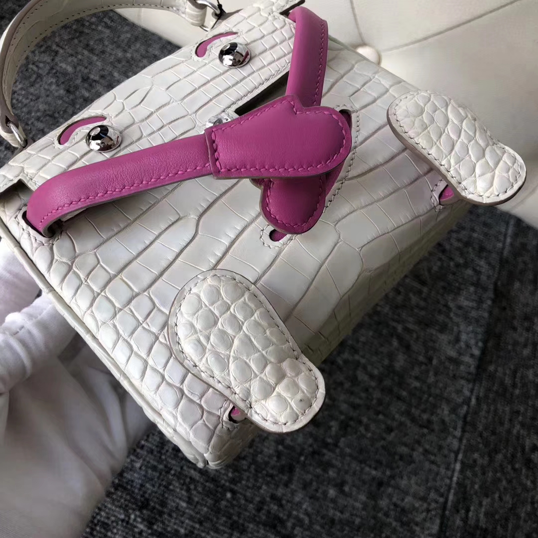 Customize Hermes 8L Beton/Rose Purple Matt Crocodile Kelly Doll Bag