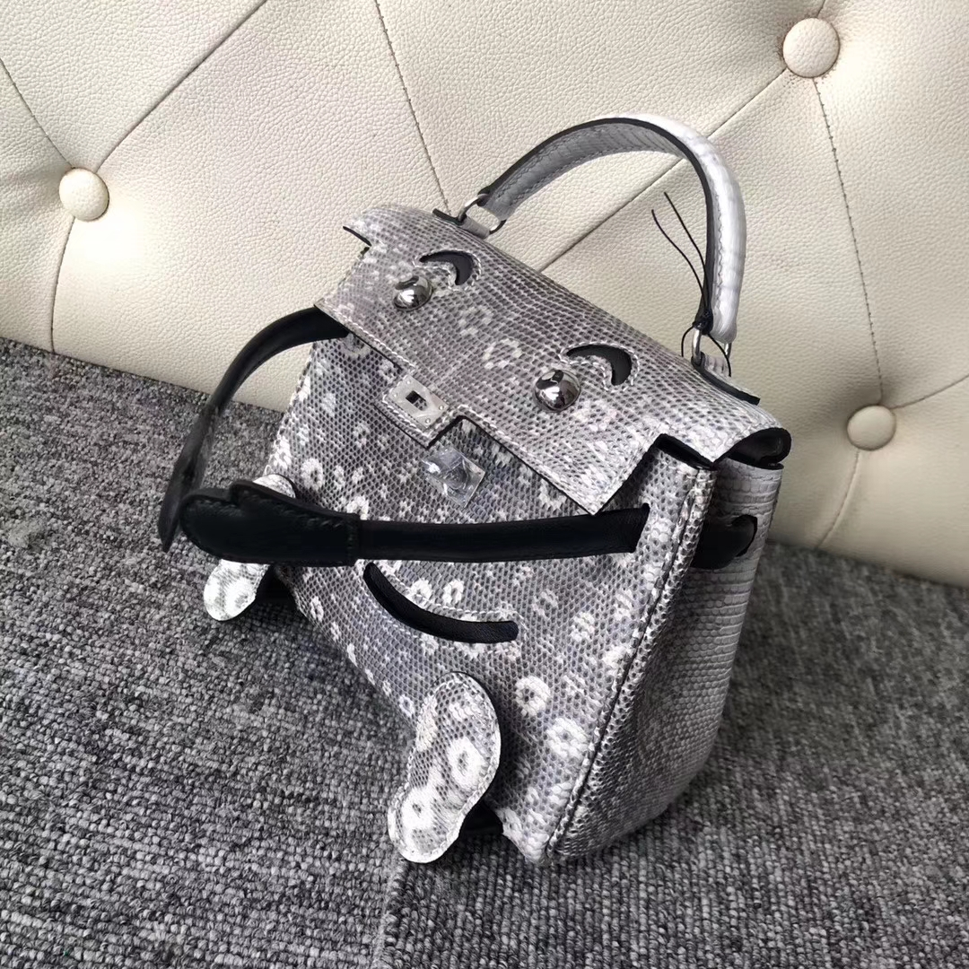Lovely Hermes Himalaya/Noir Lizard Leather Kelly Doll Bag Silver Hardware