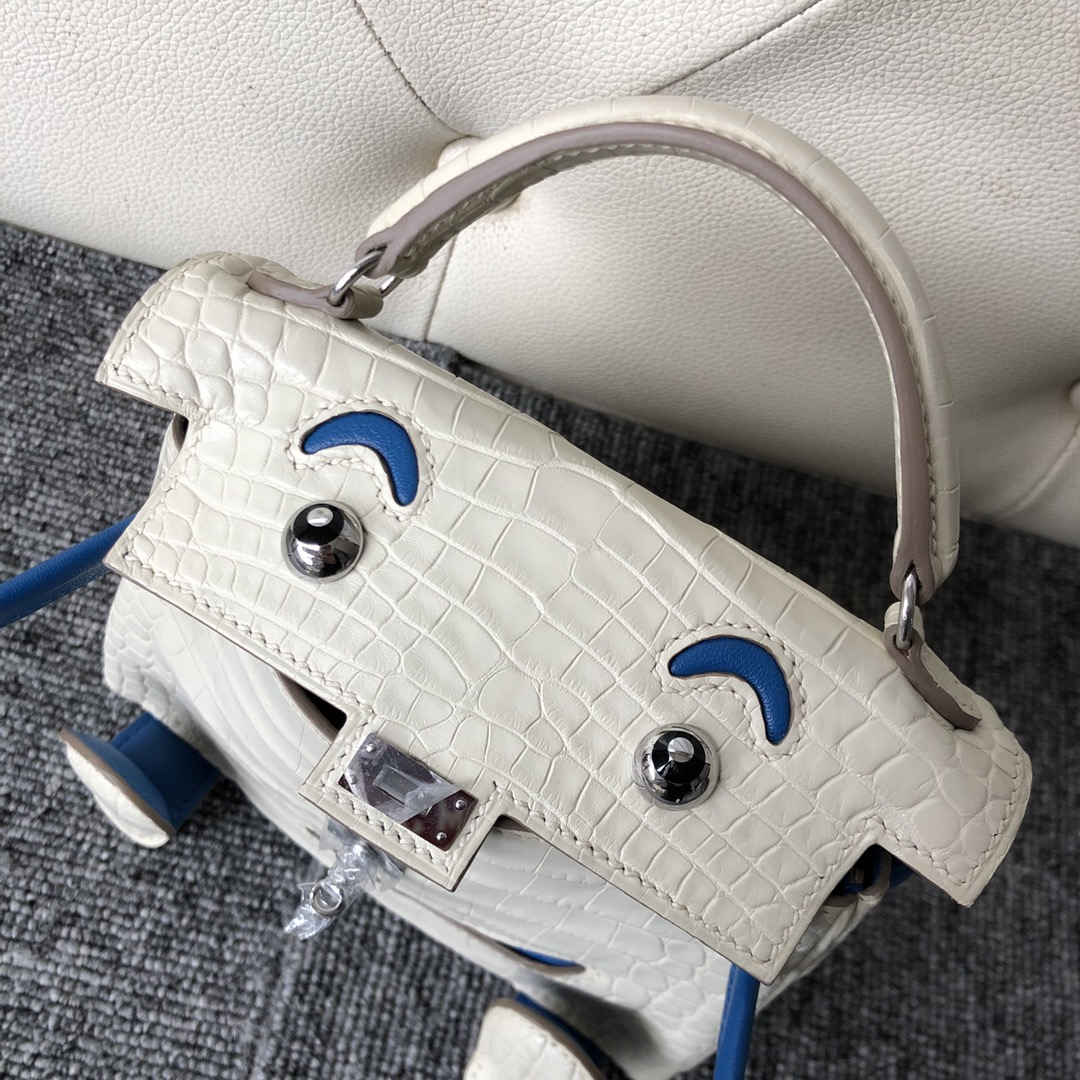 Customize Hermes 8L Beton/Blue Mykonos Matt Crocodile Kelly Doll Bag Silver Hardware