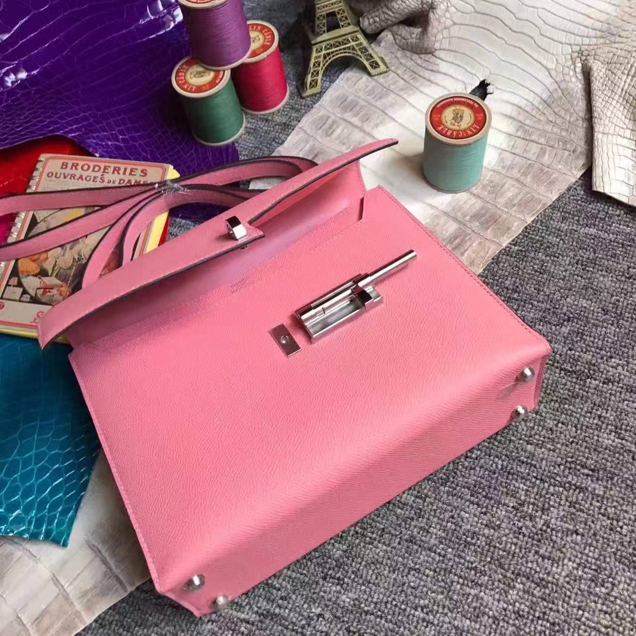 Hand Stitching Hermes Verrou Bag 24cm in 1Q Rose Confetti Epsom Leather