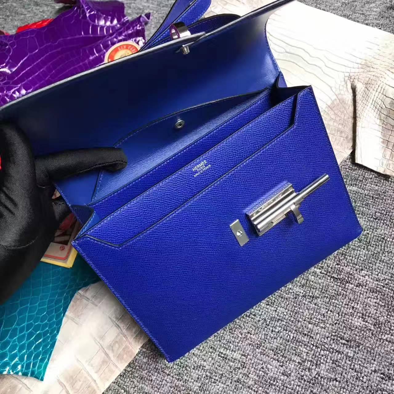On Sale Hermes 7T Blue Electric Epsom Leather Verrou Shoulder Bag24cm