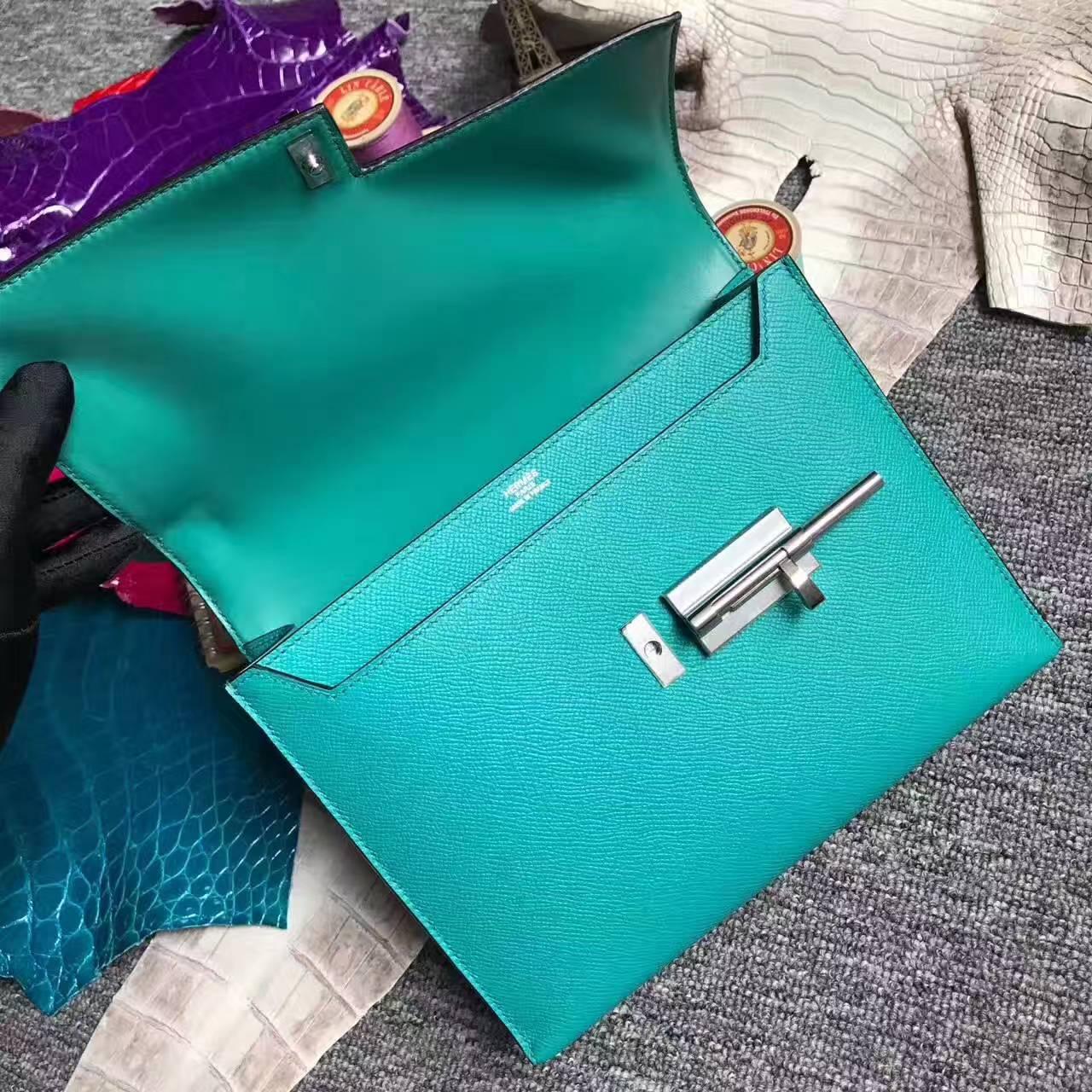 High Quality Hermes 7F Blue Paon Epsom Leather Verrou Bag 24cm