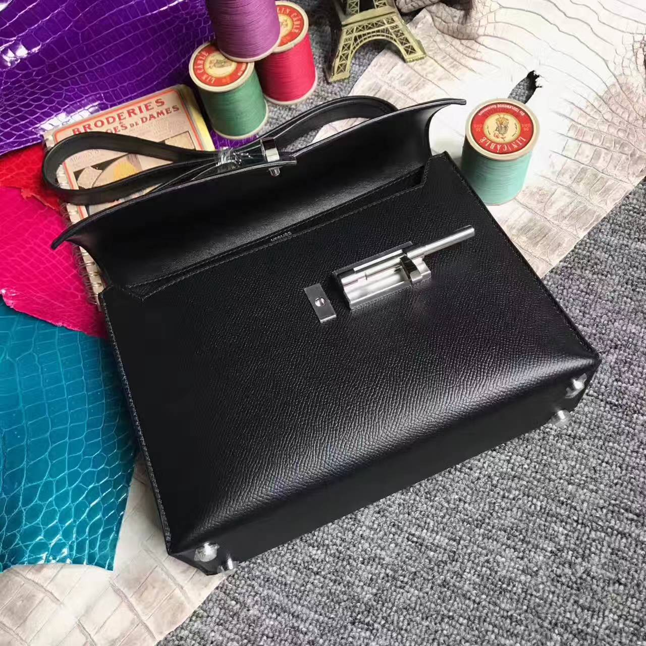 New Arrival Hermes Verrou Bag 24cm in CK89 Black Epsom Leather