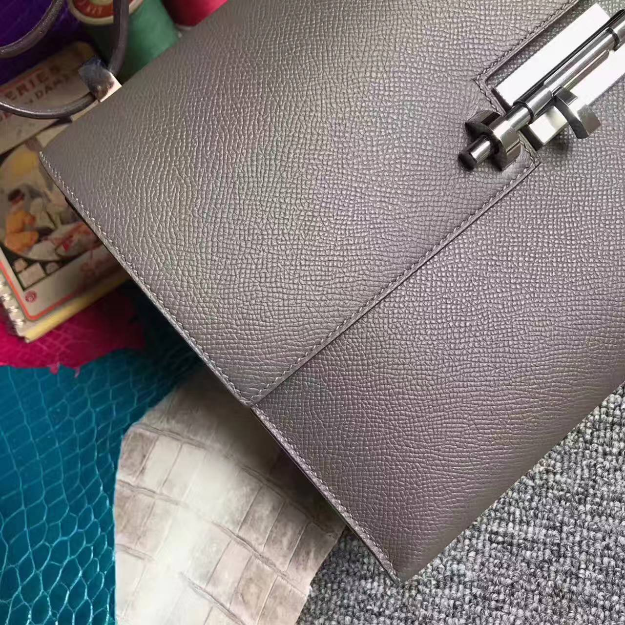 Wholesale Hermes Etain Grey Epsom Leather Verrou Shoulder Bag 24cm