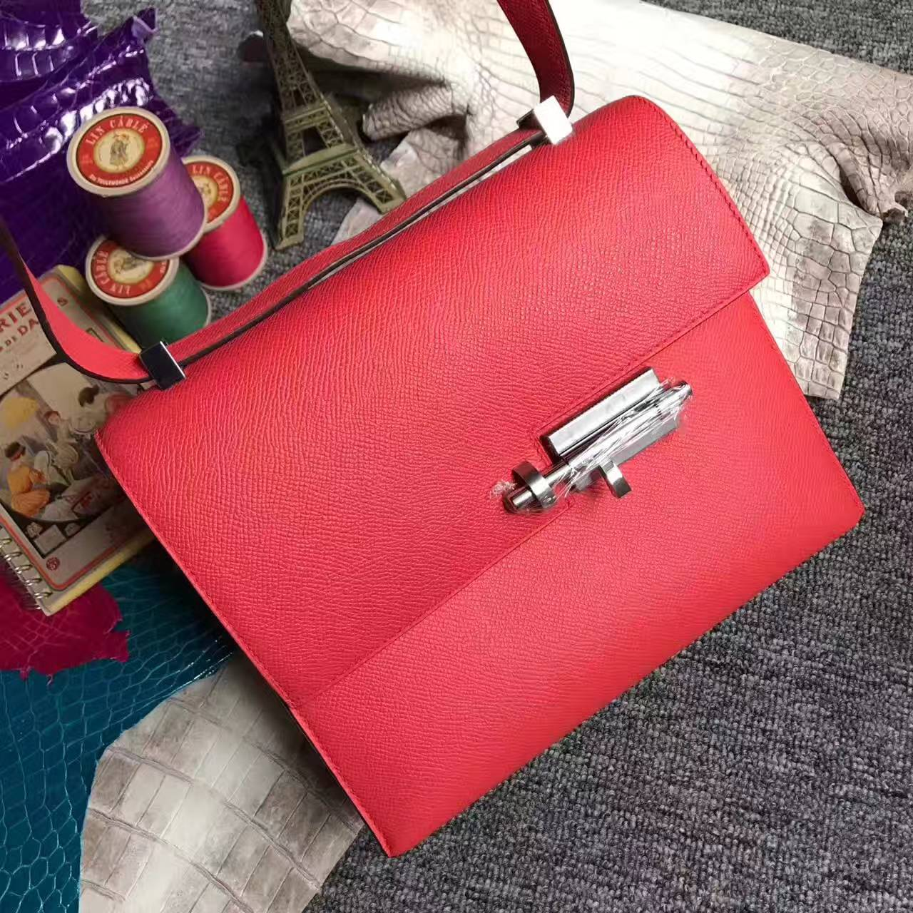New Fashion Hermes Q5 Rouge Casaque Epsom Leather Verrou Bag 24cm