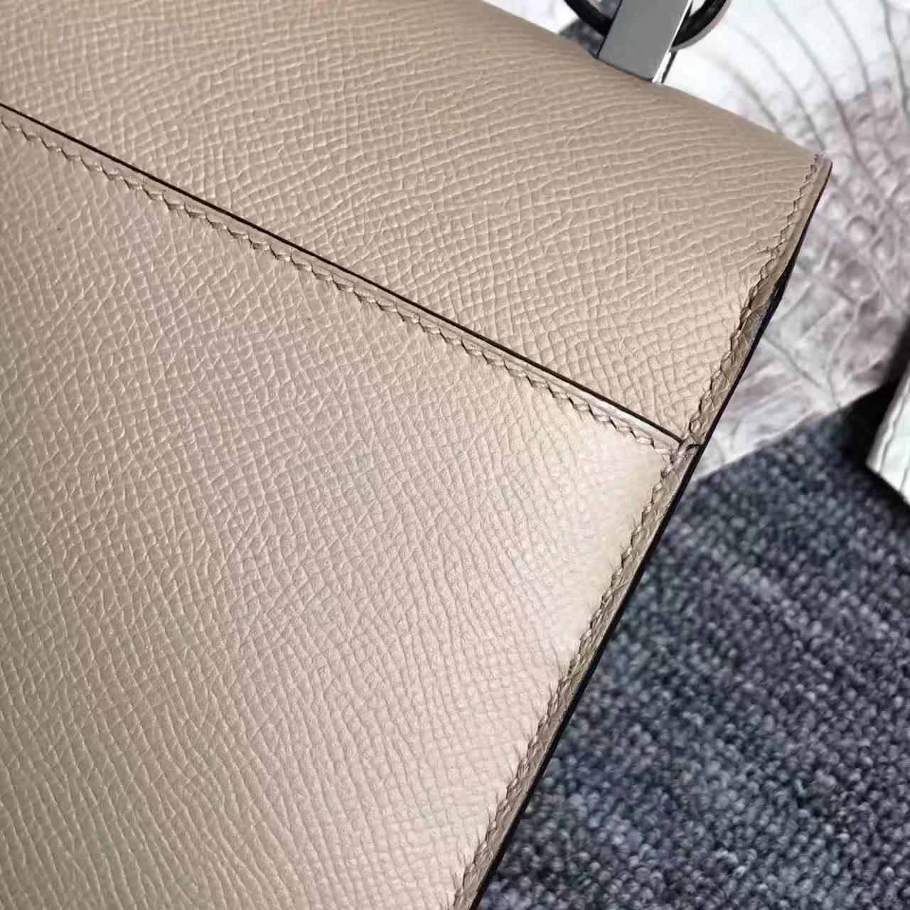 Hot Sale Hermes Verrou Shoulder Bag in C18 Gris Tourterelle Epsom Leather