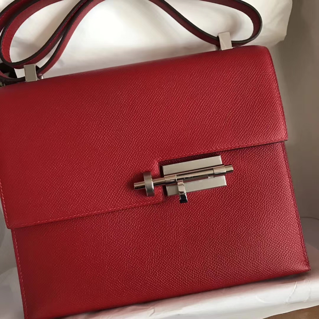 Sale Hermes Q5 Rouge Casaque Epsom Calfskin VerrouShoulder Bag23CM
