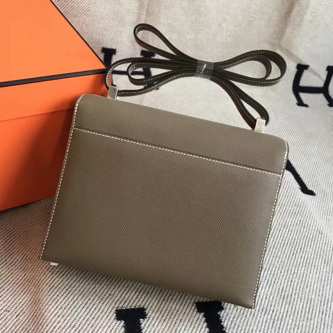 New Arrival Hermes CK18 Etoupe Grey Epsom Calfskin VerrouBag23cm Silver Hardware