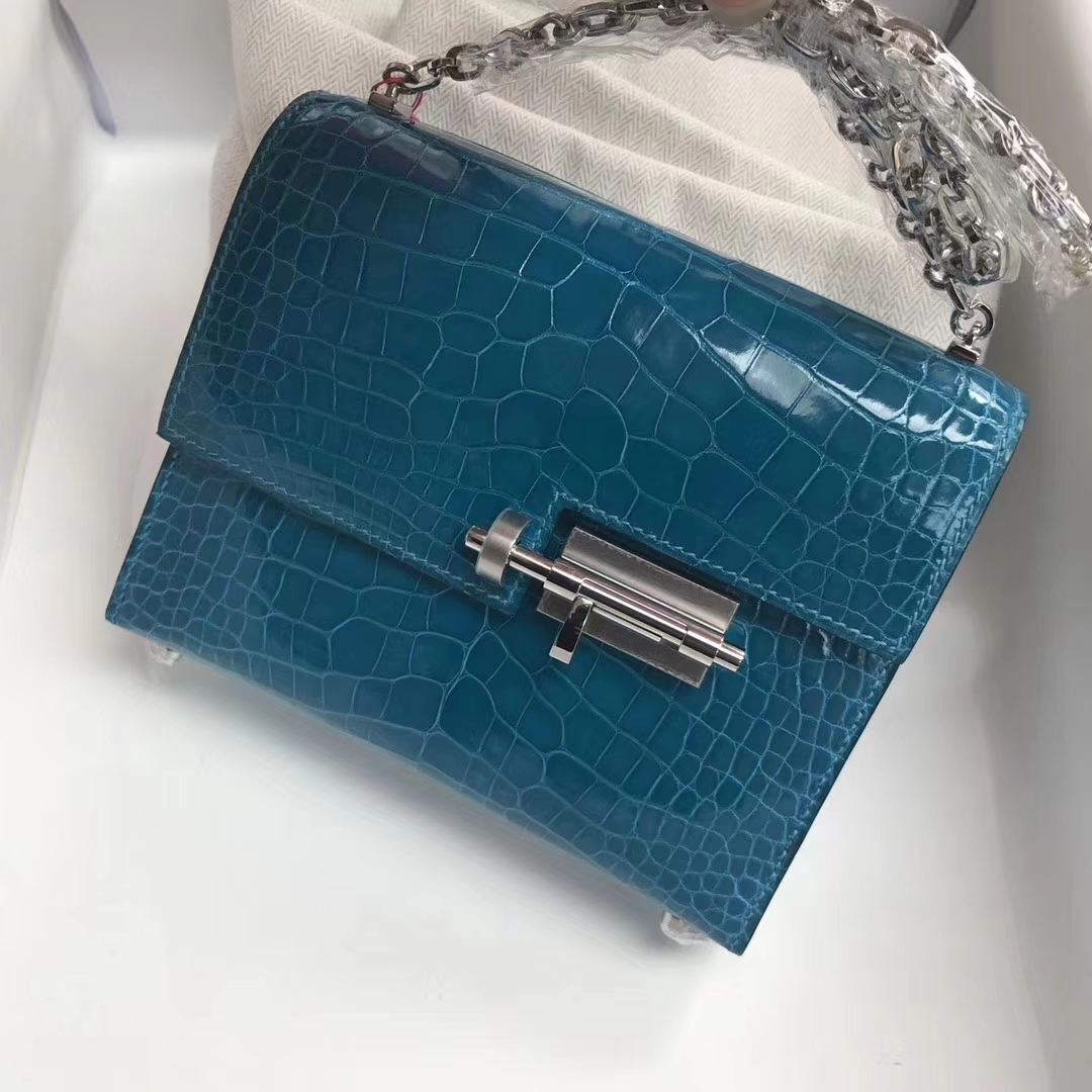 Fashion Hermes Shiny Crocodile Leather Verrou17cm Bag in 7W Blue Izmir Silver Hardware