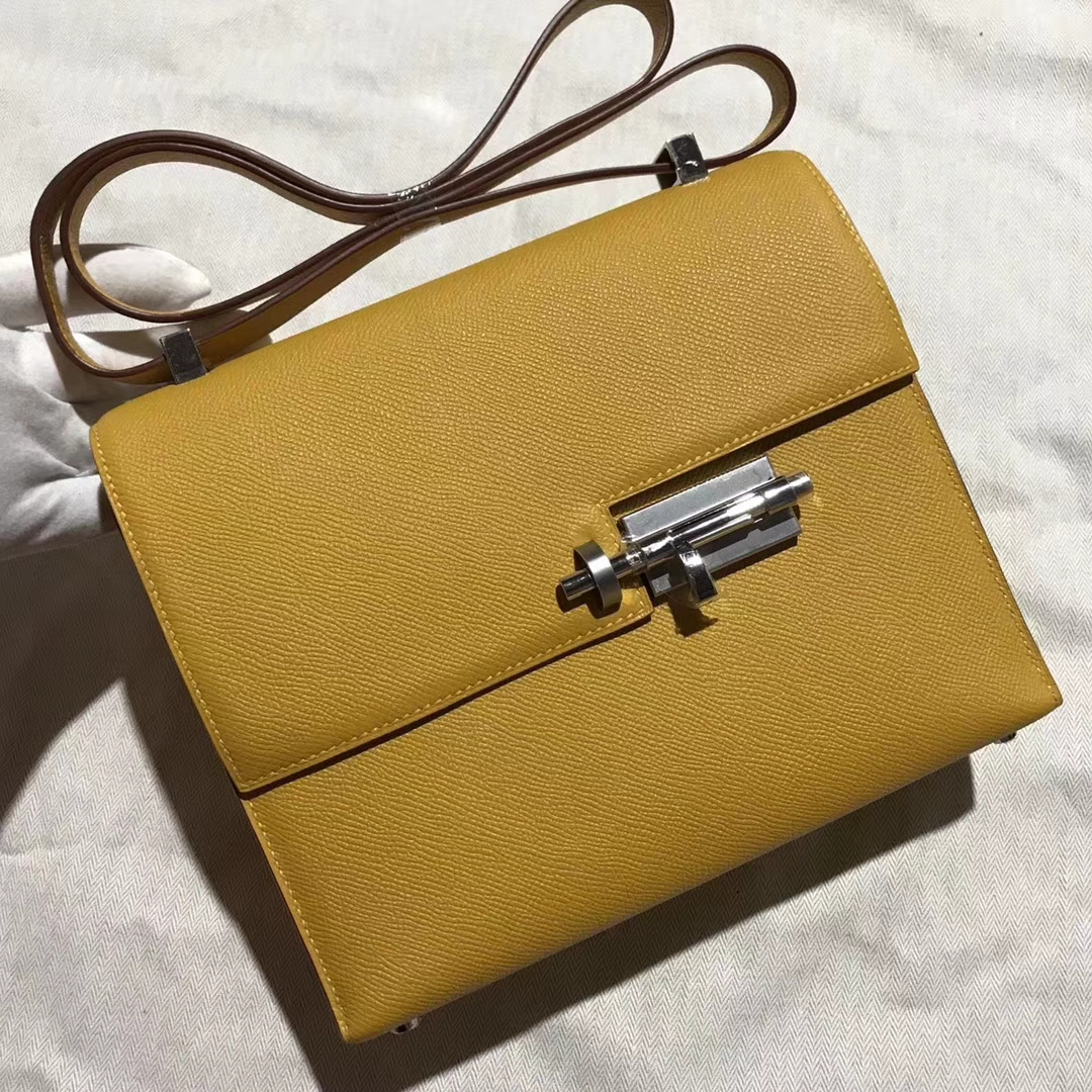 Discount Hermes 9D Ambre Yellow Epsom Calfskin Verrou Shoulder Bag