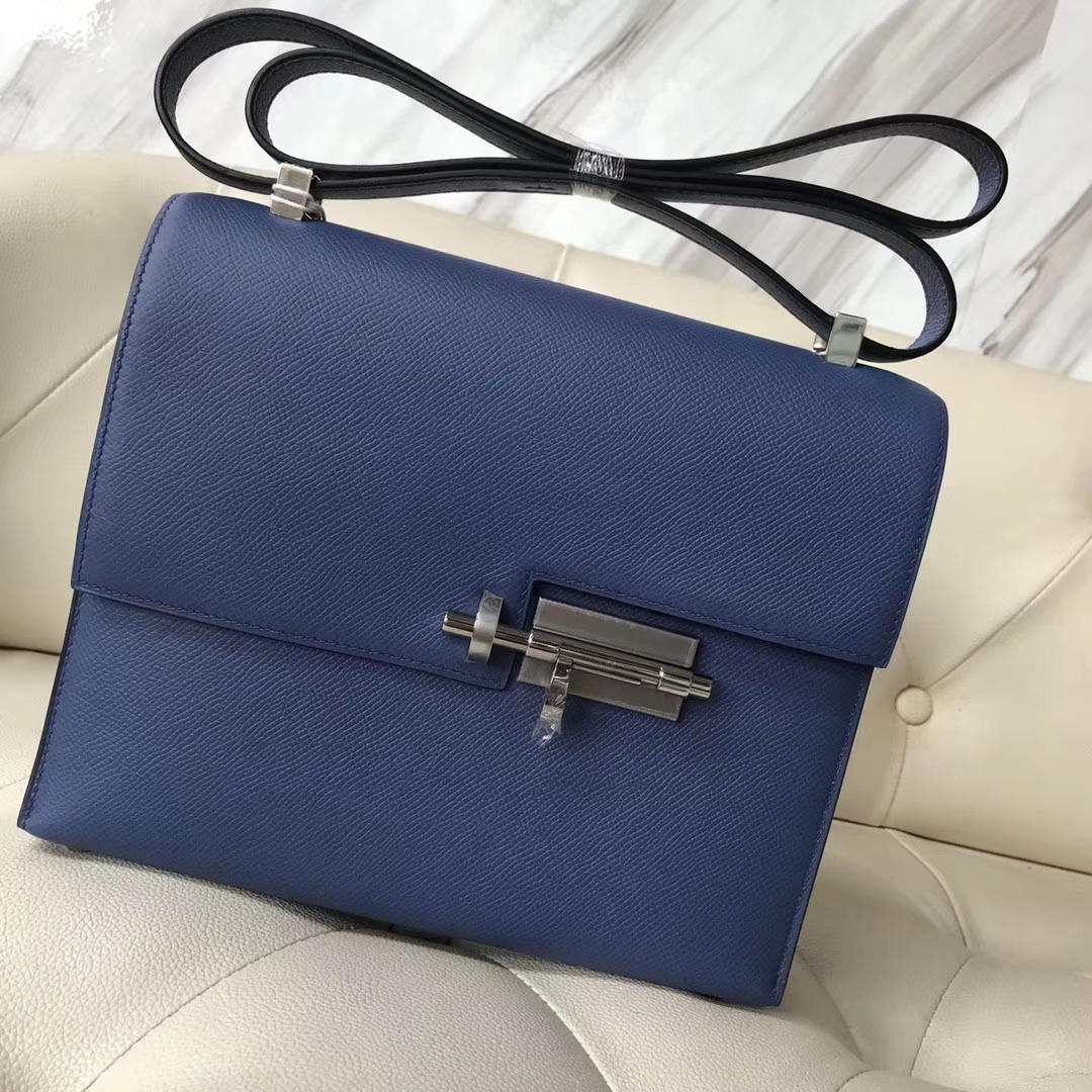 Discount Hermes 7E Haze Blue Epsom Calfskin Verrou23CMBag Silver Hardware