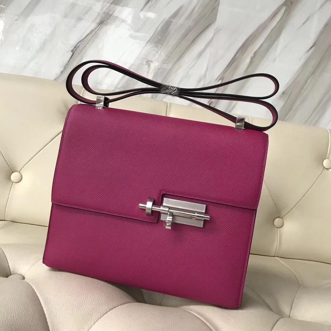Pretty Hermes VerrouBag21CM in L3 Rose Purple Epsom Calf Silver Hardware