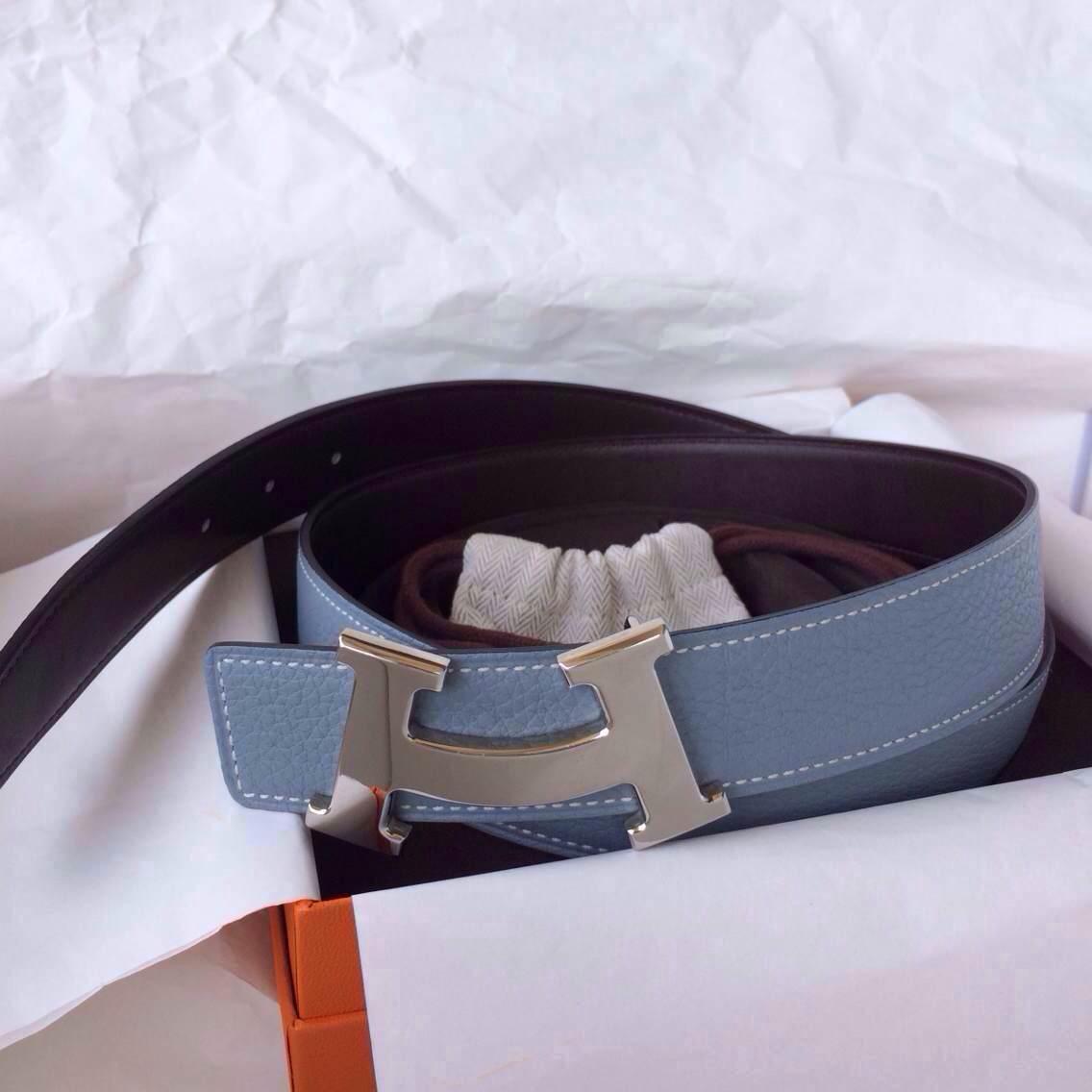 Hermes Two-sided Men's Belt J7 Blue Lin Togo Leather/Dark Coffee Box Leather 32mm Width
