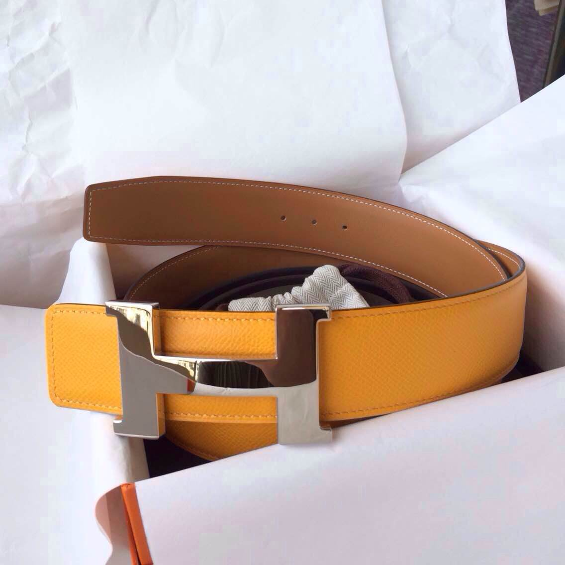 Cheap Hermes Two-sided Belt 42mm Width 9V Moutarde Epsom Leather/Light Coffee Box Leather