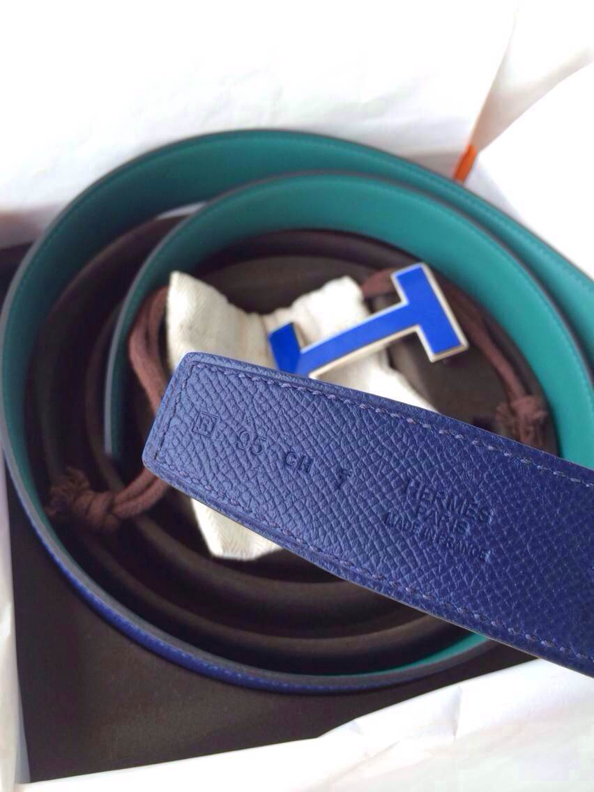 Sale 32mm Width New Blue Electric/Z6 Malachite Swift Leather Enamel Buckle Hermes Belt