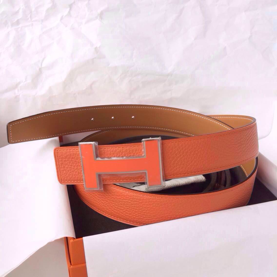 Wholesale Hermes Belt 93 Orange Togo Leather Light Coffee Box Leather 32mm Width