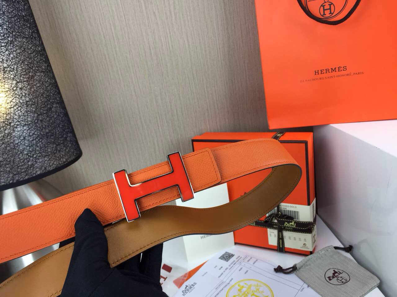 Wholesale Hermes Belt Orange and yellowish brown Orange buckle