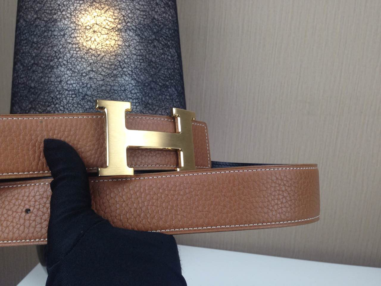 Hermes Litchi grain Brown and black H buckle 3.8CM wide