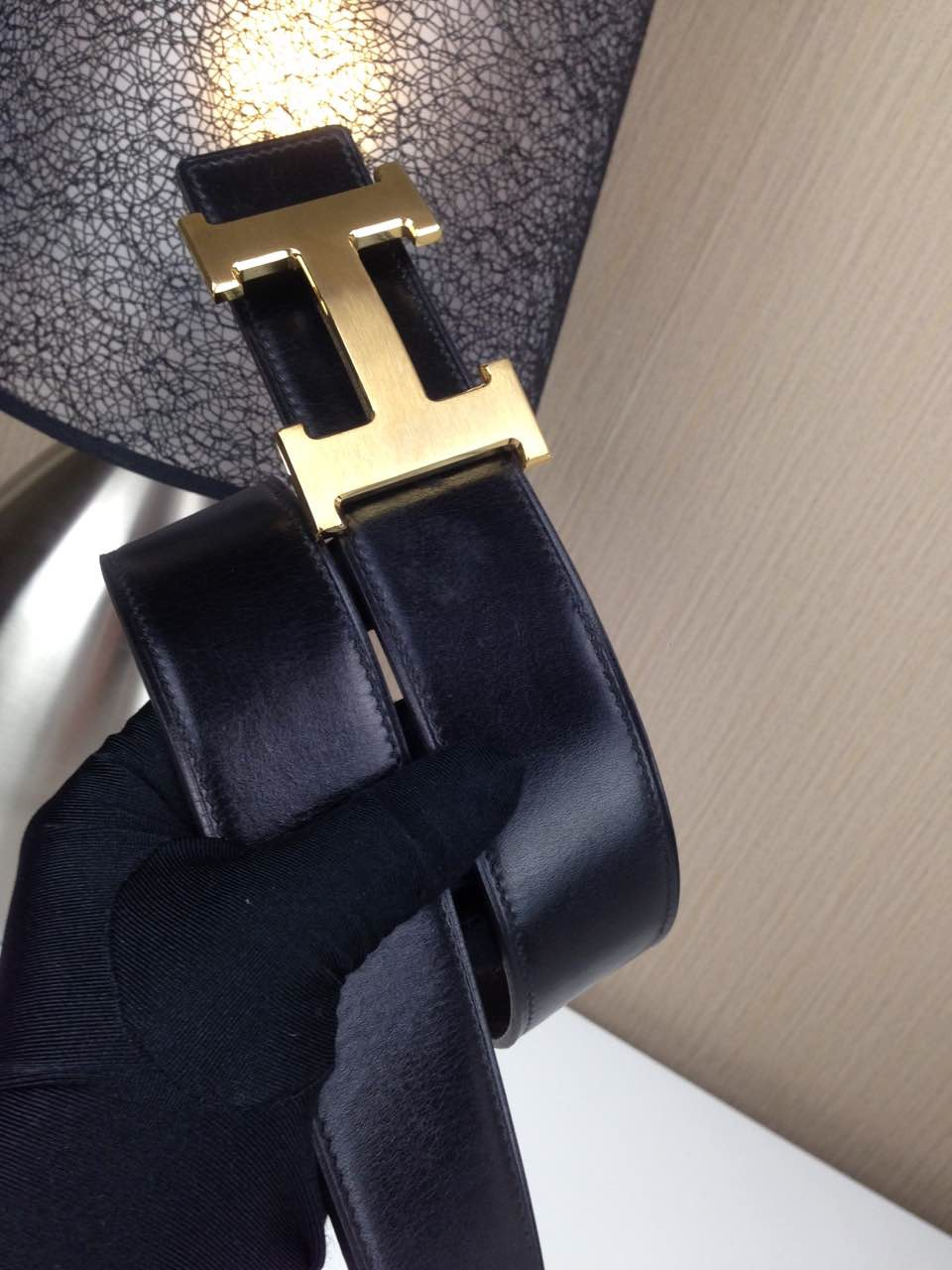 Hermes Litchi grain Coffee and black H buckle 3.8CM wide