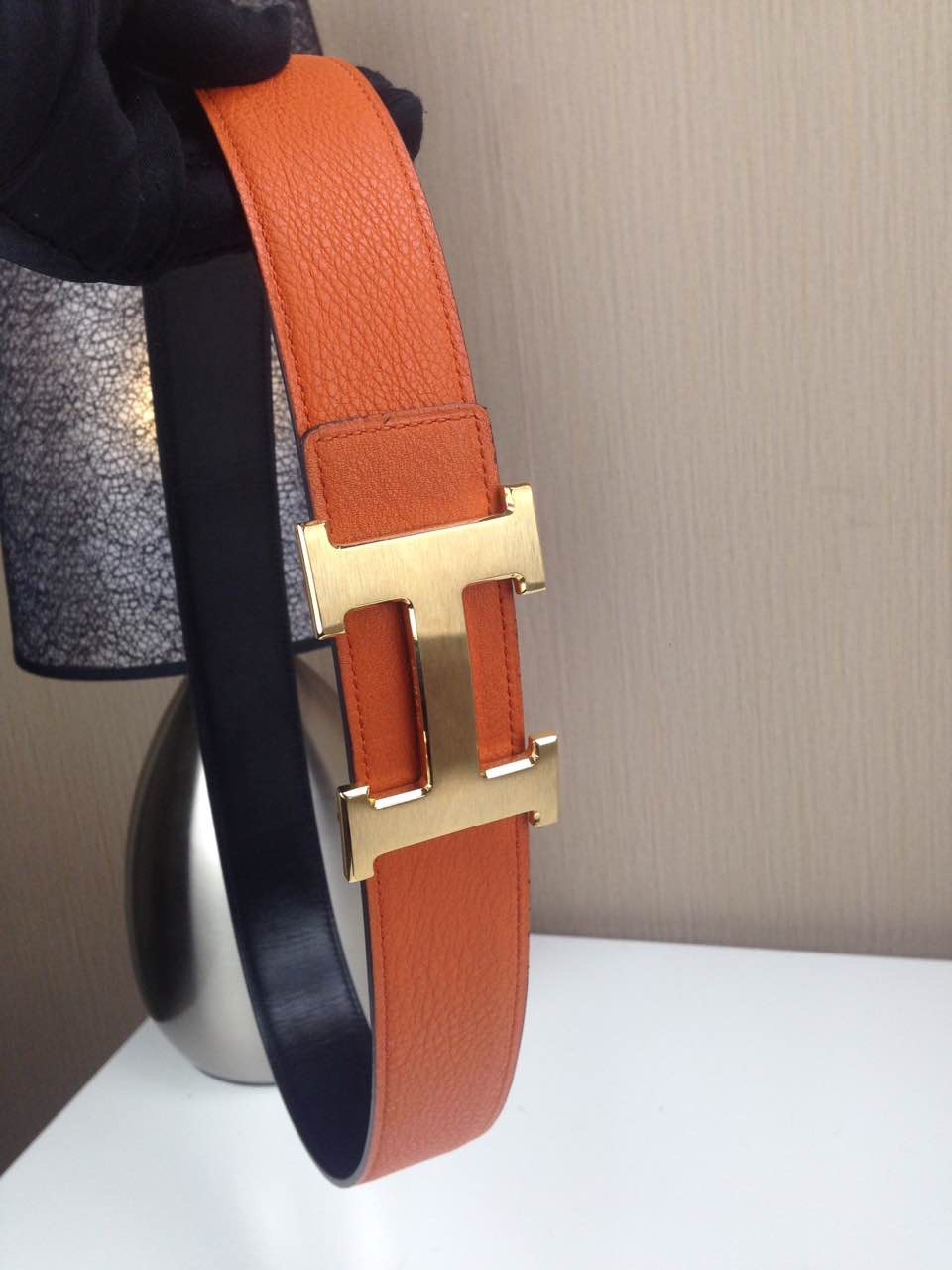 Hermes Litchi grain Orange and black H buckle 3.8CM wide
