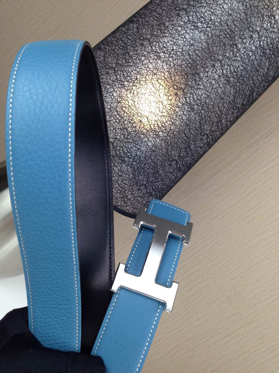 Hermes Litchi grain Sky blue and black H buckle 3.8CM wide