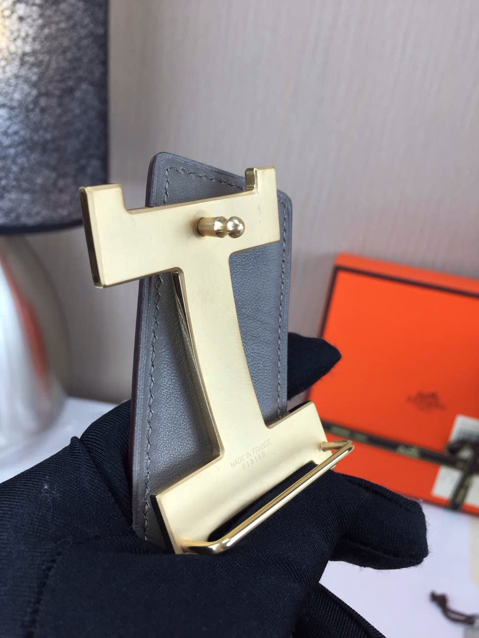 Hermes calfskin four horns brushed gold belt brown and light grey Mens 3.8CM wide
