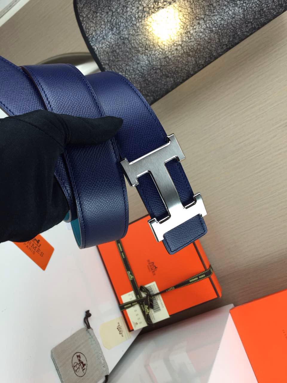 Hermes calfskin four horns brushed gold belt blue and sky blue Mens 3.8CM wide