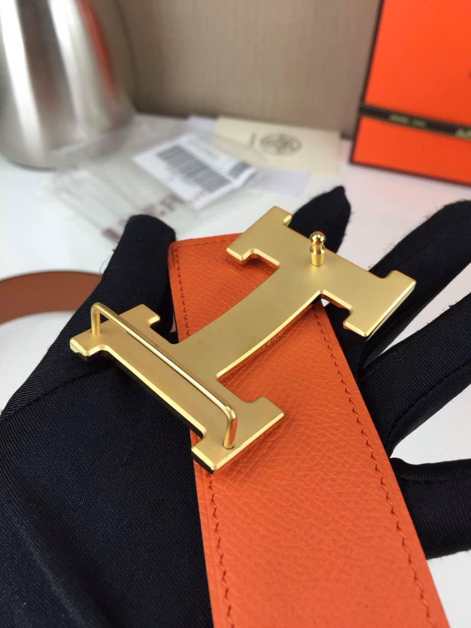 Hermes Men's Carved buckle Khaki and orange 3.8CM wide